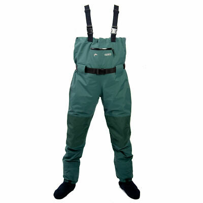 Climb 8 Moy Chest Fishing Mens Waders Green Watrproof Breathable With Booties • 34.99£