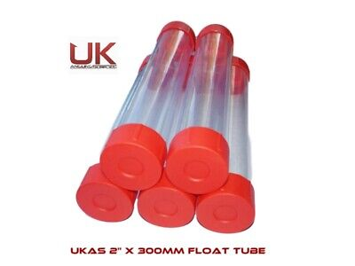 5 X UK Angling Supplies 2  Clear Plastic Float Tube - Length 30cm • 11.50£