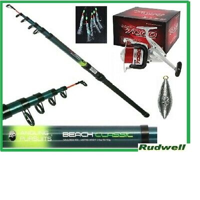 Telescopic Beachcaster Package With Reel Feathers And Weight Fishing Tackle Sea  • 22£