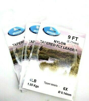 3 Dragon, Tapered Leaders, Brown, Rainbow Trout, Grayling, Fly Fishing Leader • 5.50£