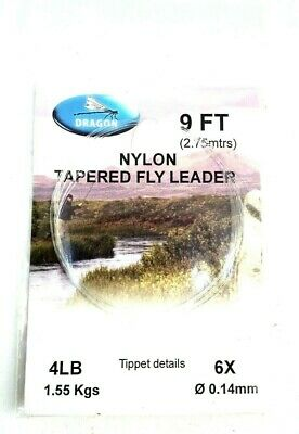 Dragon Tapered Leaders Trout Grayling Nylon Fly Fishing Leader All Sizes 9ft • 2.49£