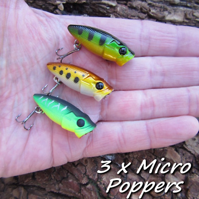 3 X Micro Surface Poppers Savage Frogs Baits Pike Perch Chub Fishing Gear Lures. • 6.99£