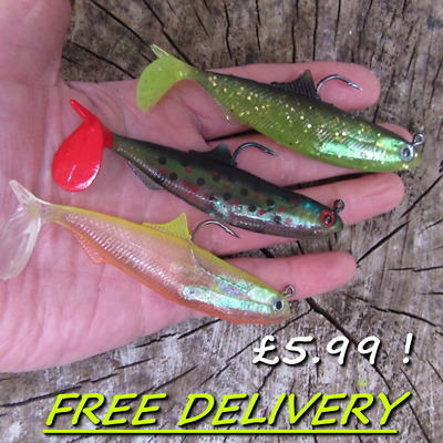 3 Soft Jelly Rubber Weighted Paddle Tail Hook Bait Roach Perch Pike Fish Lure ! • 4.99£