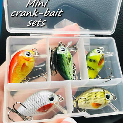 5 X Realscale Mini Cranks Savage Pike Perch Trout Travel Box Lures Gift Set Gear • 6.99£