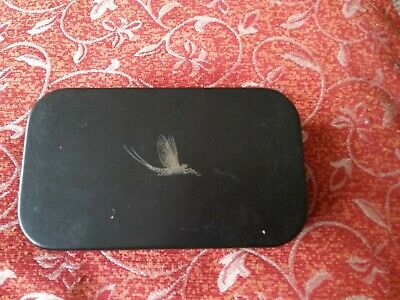 Rare Black Wheatley Fly Box Mayfly Design On Lid. Fly Fishing • 60£