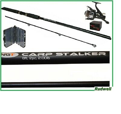 Carp Rod And Reel Package With Free Tackle Box Fishing Tackle Course Fishing • 19.99£