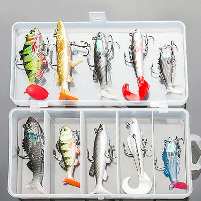 Lot 10Pcs Fishing Lures Kit Soft Bait Wobbler Artificial Lead Fish Pike Fish Jig • 10.99£