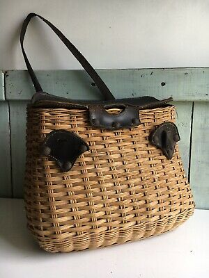 Antique Edwardian Rare Leather Lidded Wicker Fishing Creel Quality Piece • 70£