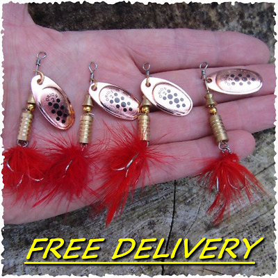 4 HENGJIA Fishing Red Feather Tail Trout Copper Spinners Pike Perch Bait Lures • 5.99£