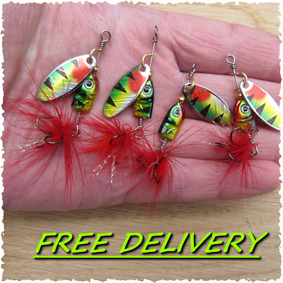4 X HENGJIA  PERCH Feather Tail Trout Savage Spinners Pike Bait Gear BEST SELLER • 5.99£