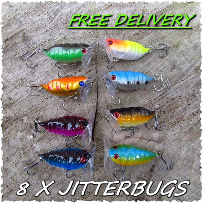 8 HENGJIA Jitterbug Insect Creature Bait Surface Fishing Popper Pike Lure Gear ! • 9.99£