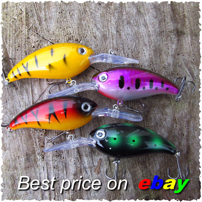 4 HENGJIA Pike Perch Trout Chub Fishing Shad Rap Big S Lures Crank Plug Gear  • 7.99£