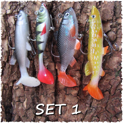 4 Soft Rubber Cannibal Shad Savage Bait Pike Perch Trout Gear Baits BEST SELLER • 4.99£