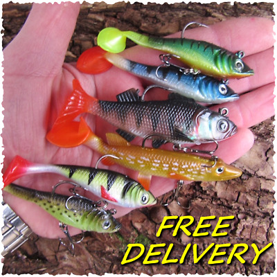 6 Soft Jelly Rubber Weighted Paddle Tail Savage Perch Pike Fish Lure Gear Bait • 8.99£