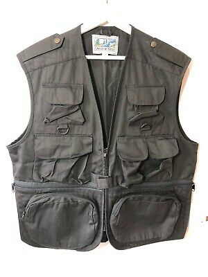 Outdoor Utility Vest Mens Black Multi Pockets Fishing Shooting Photography M  • 24.99£