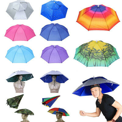 Foldable Sun Rain Head Umbrella Hat Outdoor Camping Headwear Cap Head Umbrella • 8.85£