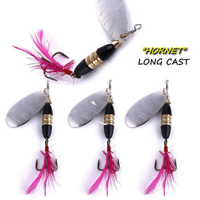 4 HENGJIA Long Cast  HORNET  Trout Spinners Pike Perch Bait Lure UK BEST SELLER • 7.99£