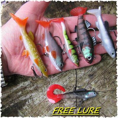 5 Paddle Tail Soft Jelly Rubber Weighted Cannibal Shads Perch Pike + FREE LURE ! • 6.99£
