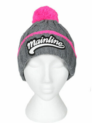 Mainline Baits NEW Chunky Beanie Grey With Pink Bobble *M22409* - LT -  • 14.99£