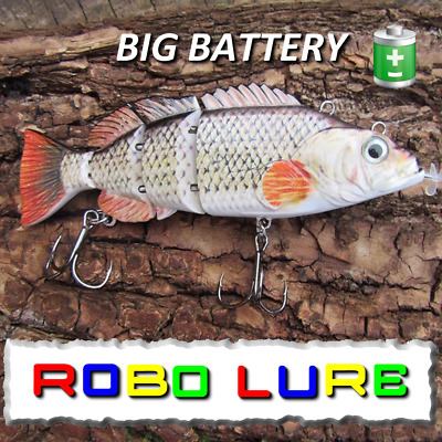 Realscale Rechargeable Jointed BIG BATTERY Robot Lure Live Fish Bait Pike Usb !! • 19.99£