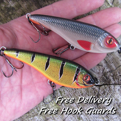 2 X Realscale Motion Buster Jerk Bait Lure Rattle Pike Perch Free Hook Guards ! • 9.49£