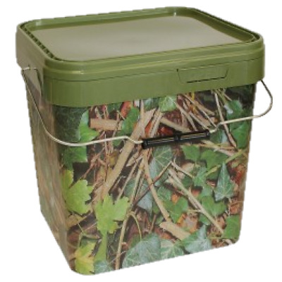 17 Litre Square Camo Bait Bucket Complete With Re-sealable Lid & Metal Handle • 10.99£