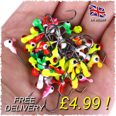 15 X Ball Jig Heads Hooks Savage Weights Cannibal Shad Coloured Gear BEST SELLER • 4.99£