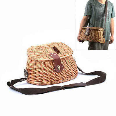Wicker Fish Basket Vintage Fishermans Traps Willow W/ Strap Pouch Fishing Holder • 24.48£