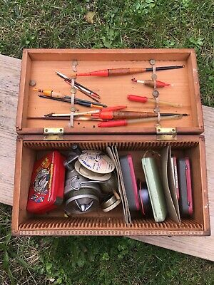 Vintage Handmade Fishing Wooden Box With Equipments And Accessories • 20£