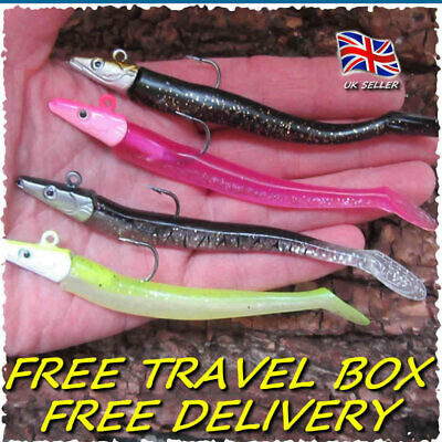 4 Savage Saltwater Sandeel Lures Bass Wrasse Cod Pollock Sea Fishing Tackle Gear • 6.99£