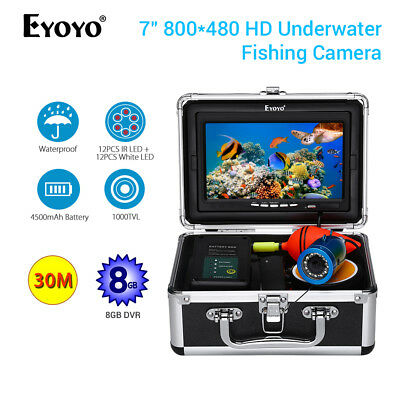 EYOYO 7  Underwater Fishing Camera 8GB DVR 1000TVL 30M Carry Box Fishing Finder • 172.32£