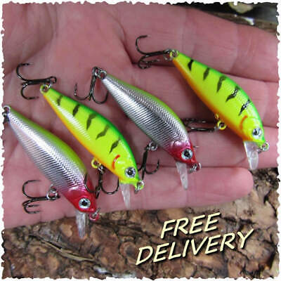 4 X Slow Sink Mini Crank Perch Trout Chub Pike Savage Baits Chub Lure Bait Gear • 5.49£