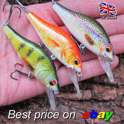 3 X REALSCALE Fishing Savage Crankbait Floating Lures Pike Perch Plug Bait Gear • 9.99£