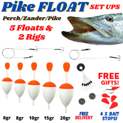 Pike Perch Zander Fishing Float Kit Set Including Rigs And 5 Floats Dead Bait • 13.99£