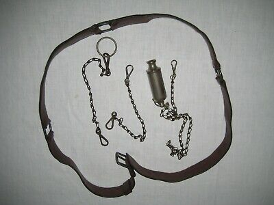 Vintage Leather Fishing Belt With Accessories Chains X 3 & Acme Siren Whistle • 40£