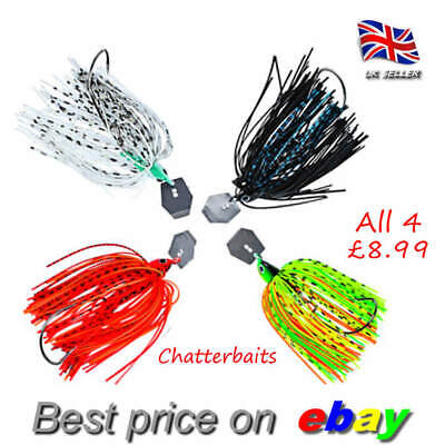 4 X 12g CHATTERBAIT Skirted Trout Savage Pike Perch Bait Gear Jig Hook UK Seller • 8.99£