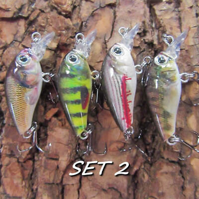 4 Realscale Mini Slow Sink Plugs Savage  Pike Perch Trout Chub Baits Lure Gear • 9.99£