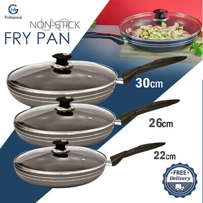 22 Cm - 30 Cm UNA Non Stick Frying Pan Insulated Handle Cooking Frypan With Lid • 12.97£