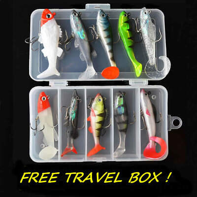 10 X Soft Weighted Savage Cannibal Shad Box Hook Chub Perch Pike Fish Lure Gear • 11.99£