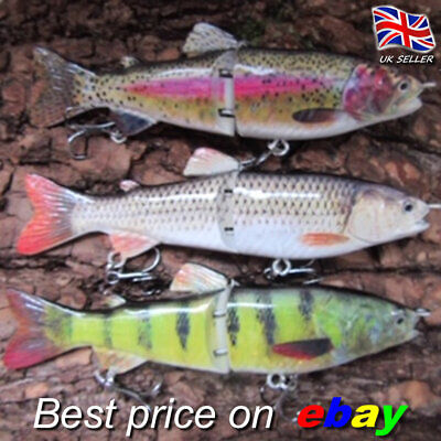3  REALSCALE Jointed Swimbaits Fishing Savage Lures Pike Plug Bait Pike Gear • 11.99£