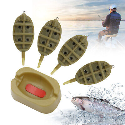 4X INLINE METHOD FEEDERS AND 1X MOULD SET FOR CARP FISHING TACKLE 15g20g25g30g • 6.99£