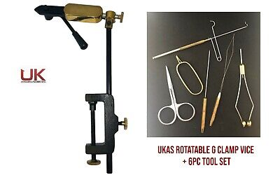 UKAS Quality Rotatable Side Lever Action Fly Tying Clamp Vice + 6 Pc Tool Set  • 32.99£