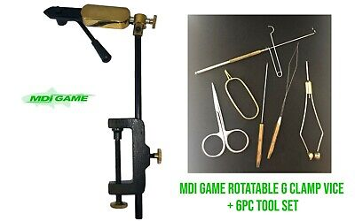 MDI Game  Rotatable Side Lever Action Fly Tying Clamp Vice + 6 Pc Tool Set  • 32.99£
