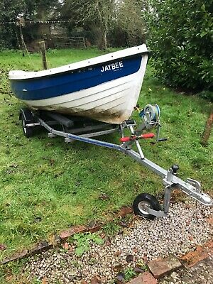 Orkney Spinner 13 Fishing Boat On Hallmark Trailer With Johnson 6hp Outboard  • 845£