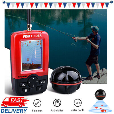 Fish Finders Alarm 100M Portable Fishing Rechargeable Sonar Sensor Wired LCD UK • 51.99£