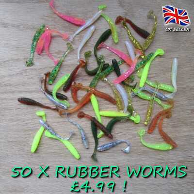 50 X Glitter Savage Soft Worm Shads Chub Perch Pike Lure Baits Drop Shot Gear • 4.99£