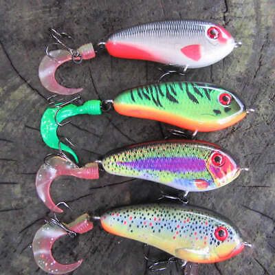2 X Realscale Countdown Jerk Bait Curly Tail Lure Pike Perch Free Hook Guards ! • 9.99£