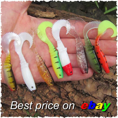 8 Curly Tail Savage Soft Cannibal Shads Chub Perch Pike Lure Bait Drop Shot Gear • 4.99£