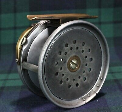 Hardy Perfect 3  Brass Faced Wide Drum (c.1898-1908) Fly Reel. • 110£