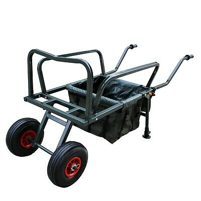 Fishing Trolley 2 Pneumatic Wheel Folding Barrow Cart With Bag Adjustable Legs • 68.99£